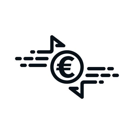 Fast cash transfer icon with euro symbol on white background. Financial concept design. Ilustração