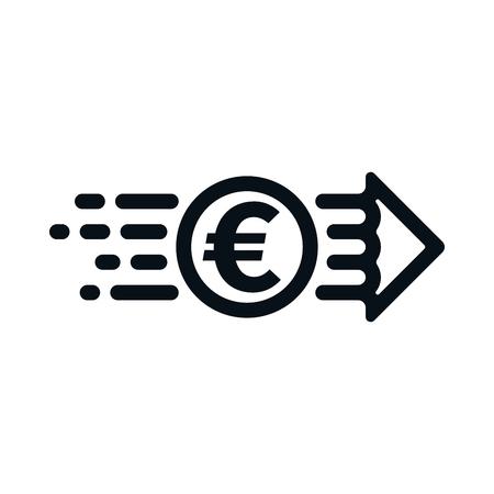 Euro from sender to receiver on white background. Financial concept design. Ilustração