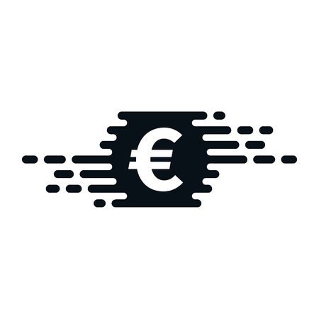 Fast currency exchanging icon with euro symbol on white background. Financial concept design.