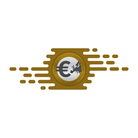 Fast currency exchanging icon with euro coin on white background. Financial concept design.