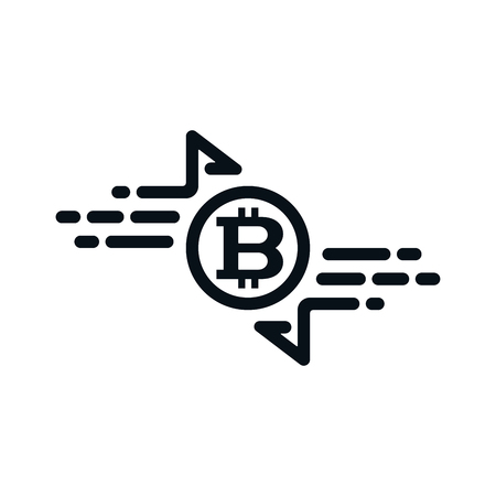 Fast cash transfer icon with bitcoin on white background. Financial concept design.