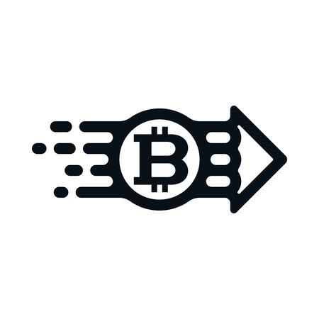 Bitcoin from sender to receiver on white background. Financial concept design. Ilustração