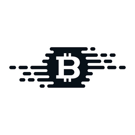 Fast currency exchanging icon with bitcoin on white background. Financial concept design. Zdjęcie Seryjne - 124965577