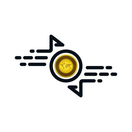 Fast transfer icon with gold coin on white background. Financial concept design. Ilustração