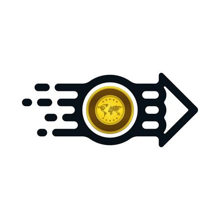Gold coin from sender to receiver on white background. Financial concept design. Ilustração
