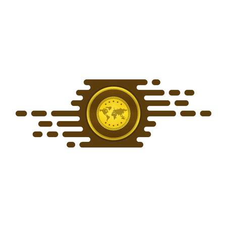 Fast exchanging icon with gold coin on white background. Financial concept design.