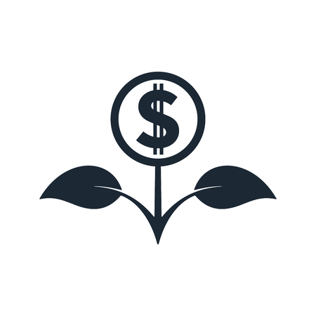 Flower in black color with dollar sign on white background. Financial growth concept design. Ilustrace