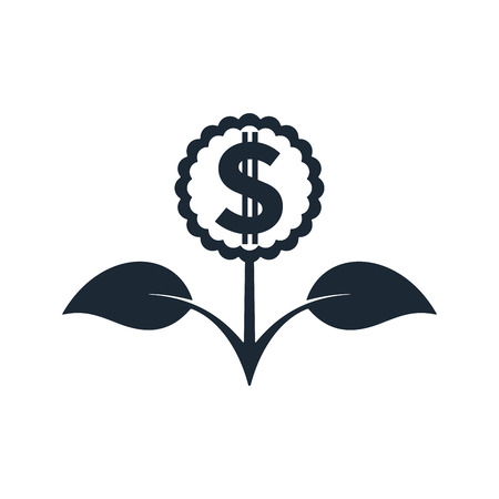 Flower in black color with dollar sign on white background. Financial growth concept design. Reklamní fotografie - 124890071