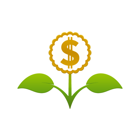 Green leafy flower with dollar sign on white background. Financial growth concept design.