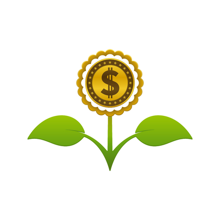 Green leafy flower with dollar coin on white background. Financial growth concept design.