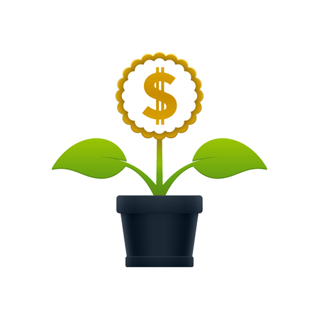 Flower with dollar sign in flower pot on white background. Financial growth concept design. Ilustrace