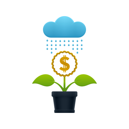 Raining on the flower with dollar sign in a flower pot on white background. Financial growth concept design.