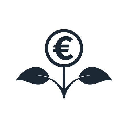 Flower in black color with euro symbol on white background. Financial growth concept design.