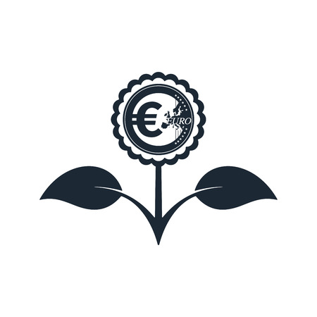 Flower in black color with euro symbol on white background. Financial growth concept design. Stock Vector - 124890081