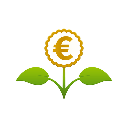 Green leafy flower with euro symbol on white background. Financial growth concept design. Illustration