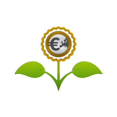 Green leafy flower with euro coin on white background. Financial growth concept design. Çizim