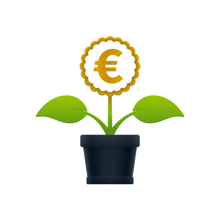 Flower with euro symbol in flower pot on white background. Financial growth concept design.