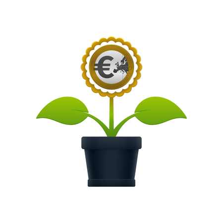 Flower with euro coin in flower pot on white background. Financial growth concept design. Illustration