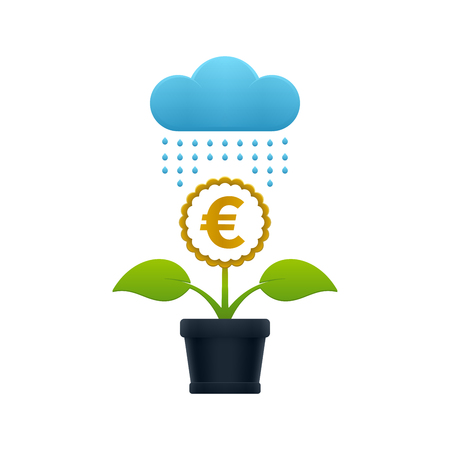 Raining on the flower with euro symbol in a flower pot on white background. Financial growth concept design.