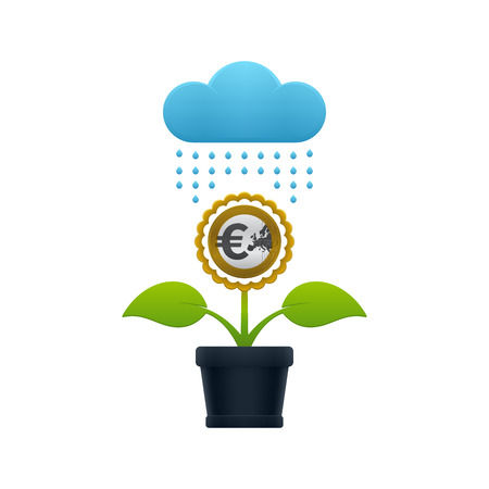 Raining on the flower with euro coin in a flower pot on white background. Financial growth concept design.