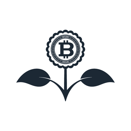 Flower in black color with bitcoin on white background. Financial growth concept design. Ilustrace