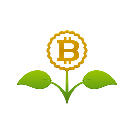 Green leafy flower with bitcoin on white background. Financial growth concept design. Stock Vector - 124890091