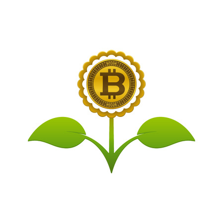Green leafy flower with bitcoin on white background. Financial growth concept design. Çizim