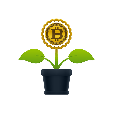 Flower with bitcoin in flower pot on white background. Financial growth concept design. Ilustrace