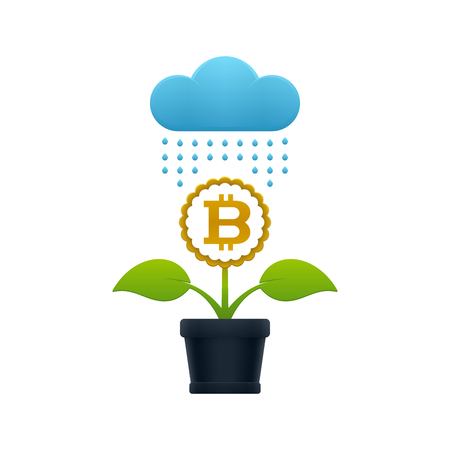 Raining on the flower with bitcoin in a flower pot on white background. Financial growth concept design. Ilustrace