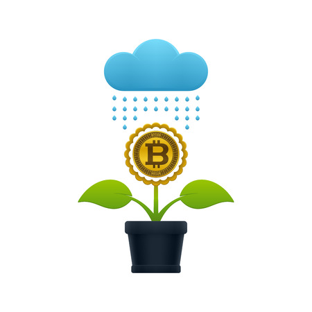 Raining on the flower with bitcoin in a flower pot on white background. Financial growth concept design. Stock Vector - 124890098