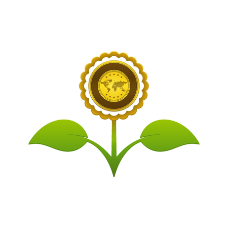 Green leafy flower with gold on white background. Financial growth concept design.