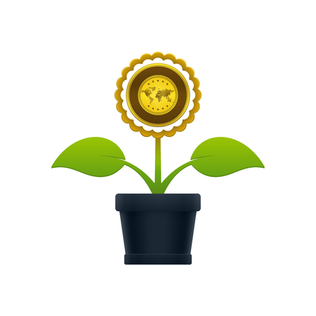 Flower with gold in flower pot on white background. Financial growth concept design.