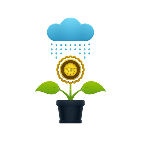 Raining on the flower with gold in a flower pot on white background. Financial growth concept design.