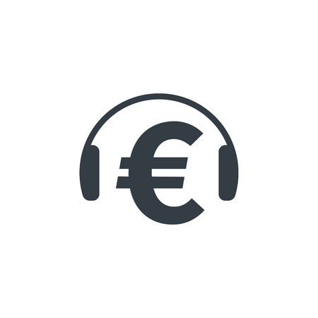 Headphones and euro symbol on white background. Financial and musical concept design. Stock Vector - 124798594