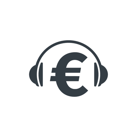 Headphones and euro symbol on white background. Financial and musical concept design. Stock Vector - 124798595
