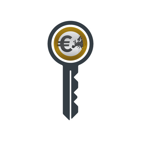 Key with euro coin on white background. Financial concept design.