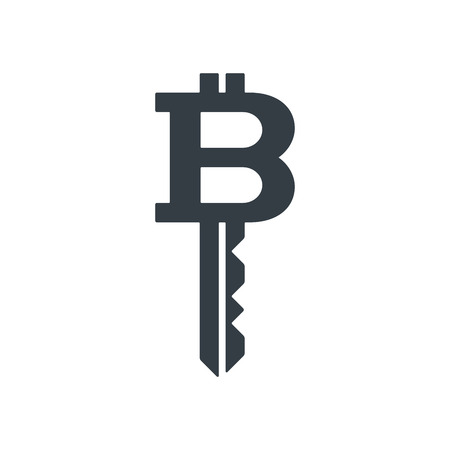 Bitcoin in the form of key on white background. Financial concept design. Illustration