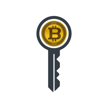 Key with bitcoin on white background. Financial concept design.