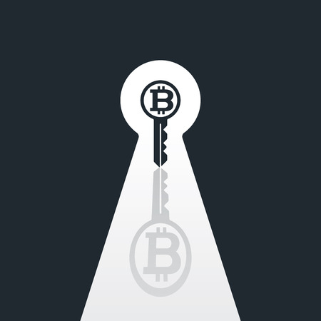 Key with bitcoin in keyhole on black and white background. Financial concept design.