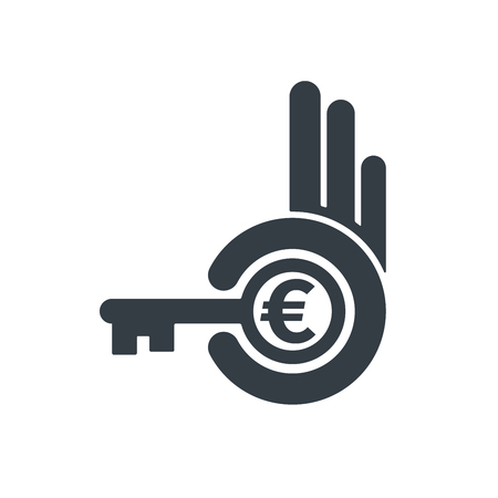 Hand holding key with euro symbol on white background. Financial concept design. Illustration