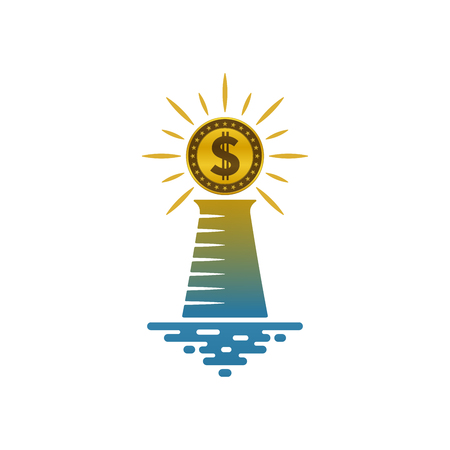 Lighthouse with shining dollar coin on white background. Financial and navigational concept design. Illustration