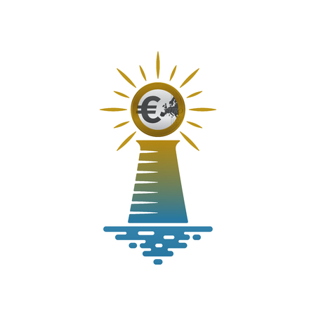 Lighthouse with shining euro coin on white background. Financial and navigational concept design. Illustration