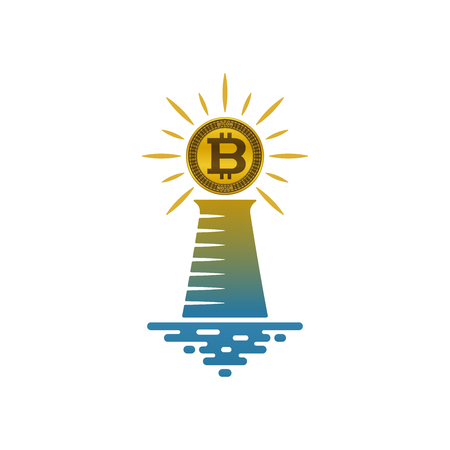 Lighthouse with shining bitcoin on white background. Financial and navigational concept design.