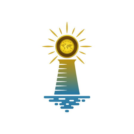 Lighthouse with shining gold on white background. Financial and navigational concept design.