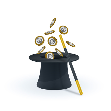 Euro coins coming out of magic hat. Financial concept design.