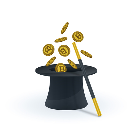 Bitcoins coming out of magic hat. Financial concept design.
