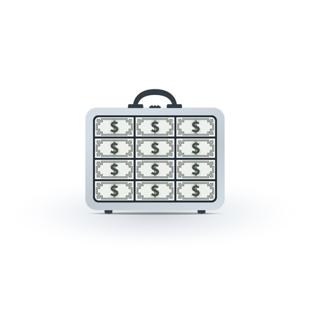 Briefcase full of dollars on white background. Financial icon design.