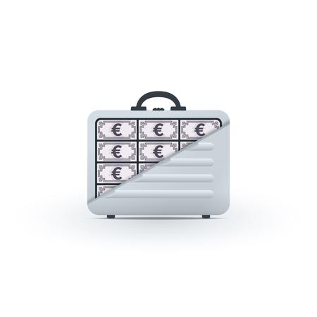 Briefcase full of euros on white background. Financial icon design.