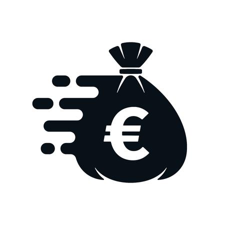 Fast money transfer icon with euro symbol on white background. Financial icon design.