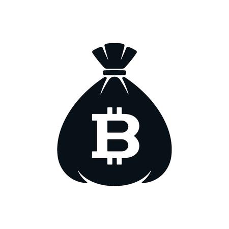 Money bag icon with bitcoin on white background. Financial icon design.